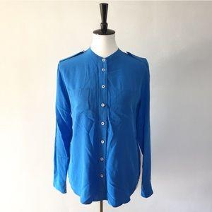 [Equipment Femme] 100% silk blue button down shirt